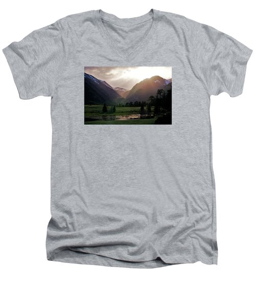 Early Evening Light In The Valley Men's V-Neck T-Shirt