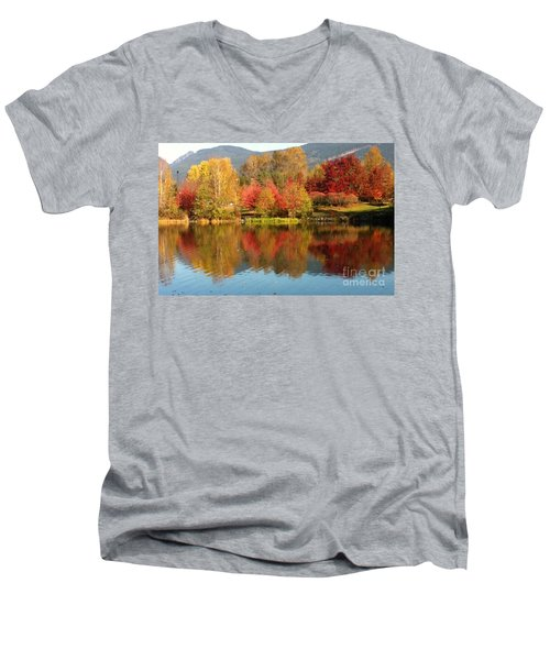 Men's V-Neck T-Shirt featuring the painting Early Fall At Lafarge Lake by Rod Jellison