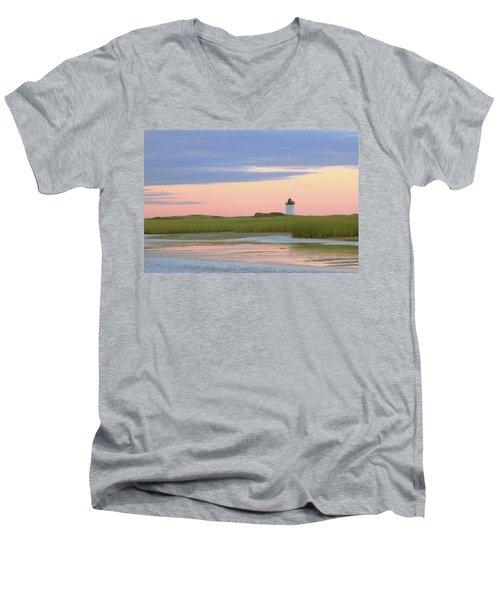 Men's V-Neck T-Shirt featuring the photograph Early Light At Wood End Light by Roupen  Baker