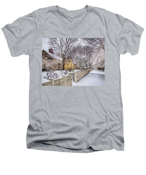 Early Massachusetts Men's V-Neck T-Shirt by Betsy Zimmerli