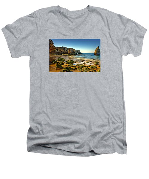 Men's V-Neck T-Shirt featuring the photograph Early Morning Alvor Beach by Brian Tarr