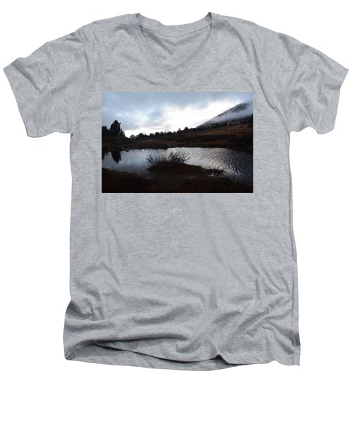 Men's V-Neck T-Shirt featuring the photograph Early Morning At Favre Lake by Jenessa Rahn