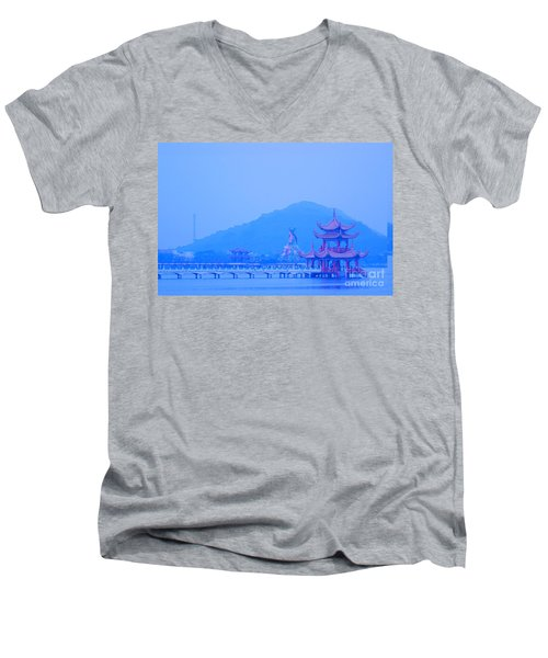 Men's V-Neck T-Shirt featuring the photograph Early Morning At The Lotus Lake by Yali Shi