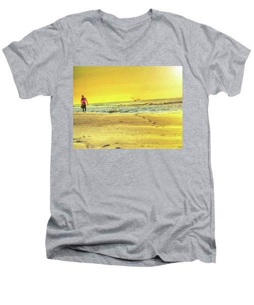 Early Morning Beach Walk Men's V-Neck T-Shirt