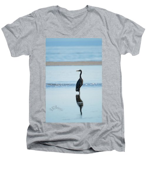 Early Morning Heron Men's V-Neck T-Shirt