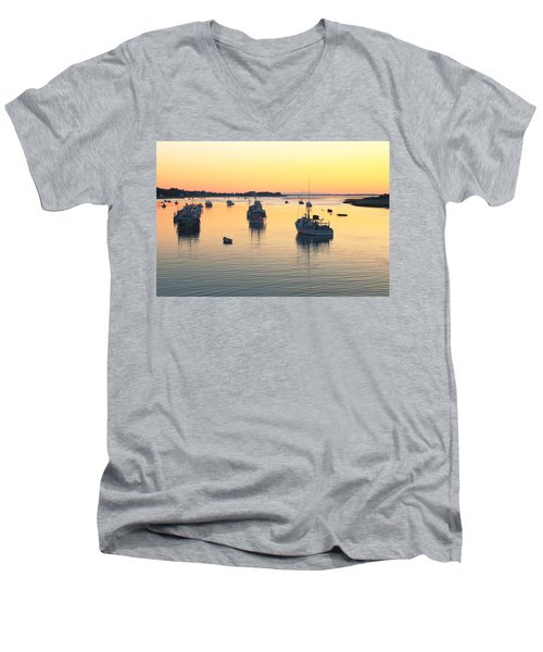 Men's V-Neck T-Shirt featuring the photograph Early Morning In Chatham Harbor by Roupen  Baker