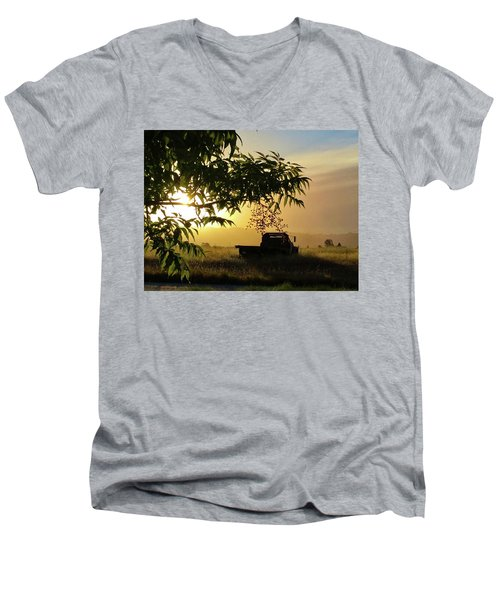 Men's V-Neck T-Shirt featuring the photograph Early Morning In Watsonville by Lora Lee Chapman
