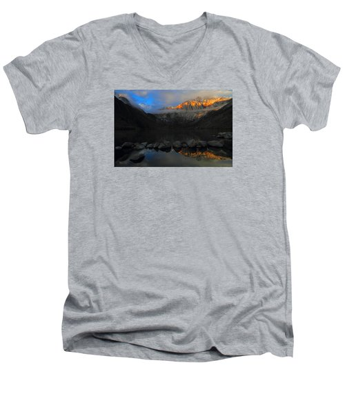 Early Morning Light At Convict Lake In The Eastern Sierras Men's V-Neck T-Shirt
