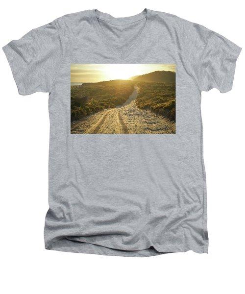 Early Morning Light On 4wd Sand Track Men's V-Neck T-Shirt