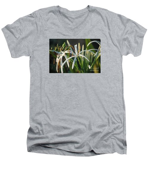 Early Morning Lily Men's V-Neck T-Shirt by LeeAnn Kendall