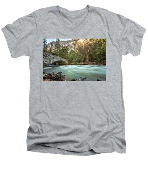Early Morning On The Merced River Men's V-Neck T-Shirt by Ryan Weddle