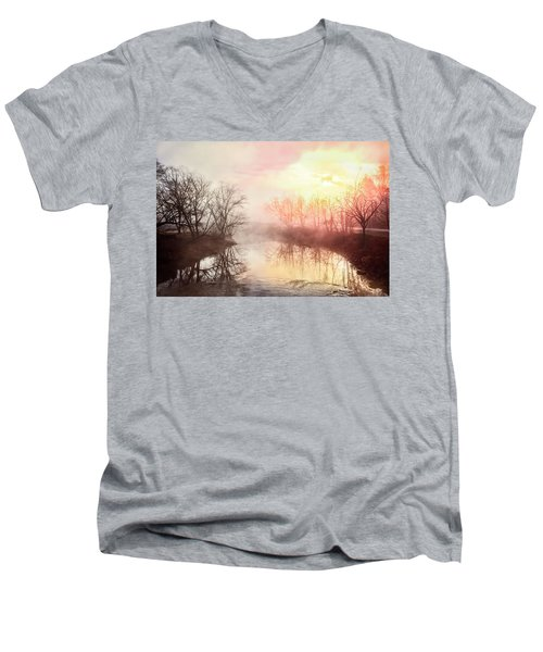 Men's V-Neck T-Shirt featuring the photograph Early Morning On The River by Debra and Dave Vanderlaan