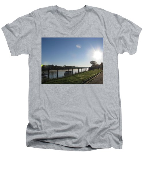 Early Morning On The Savannah River Men's V-Neck T-Shirt by Donna Brown