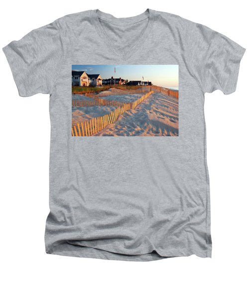 Early Morning On The Shore Men's V-Neck T-Shirt by James Kirkikis
