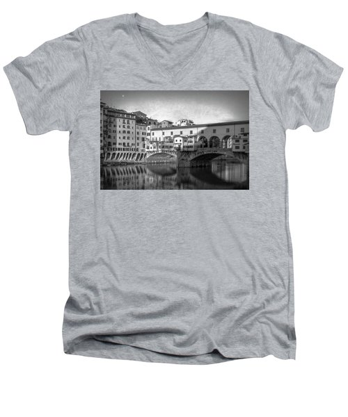 Men's V-Neck T-Shirt featuring the photograph Early Morning Ponte Vecchio Florence Italy by Joan Carroll