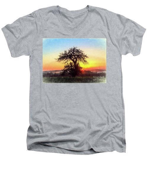 Men's V-Neck T-Shirt featuring the photograph Early Morning Sunrise by Jim Lepard