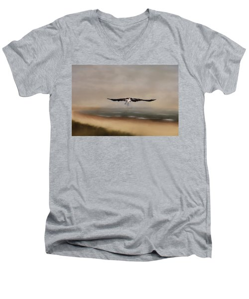 Men's V-Neck T-Shirt featuring the photograph Early Morning Takeoff by Kim Hojnacki