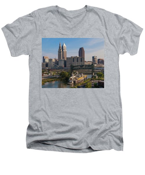 Early Morning Transport On The Cuyahoga River Men's V-Neck T-Shirt