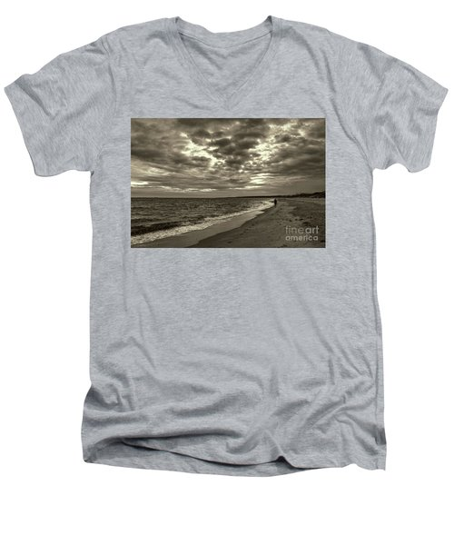 Early Morning Walk On Virginia Beach Men's V-Neck T-Shirt