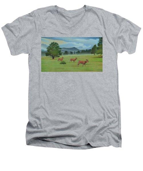 Early Spring Evergreen Men's V-Neck T-Shirt