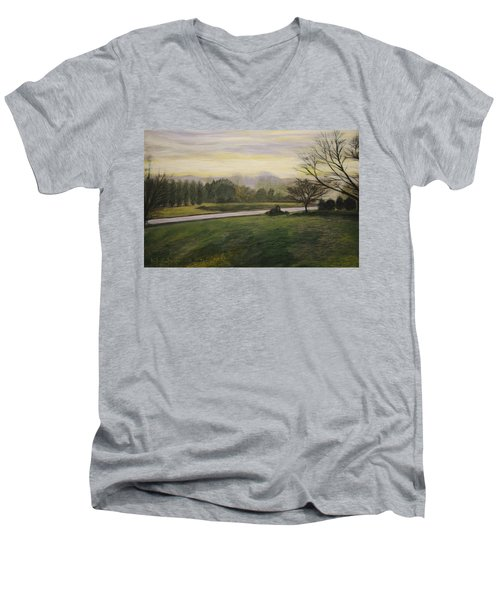 Early Spring On Ernie Lane Men's V-Neck T-Shirt by Ron Richard Baviello