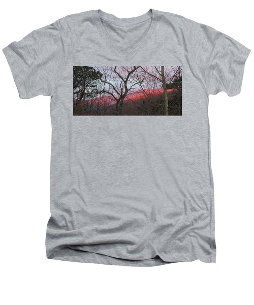 Early Spring Sunrise Men's V-Neck T-Shirt by Tammy Schneider