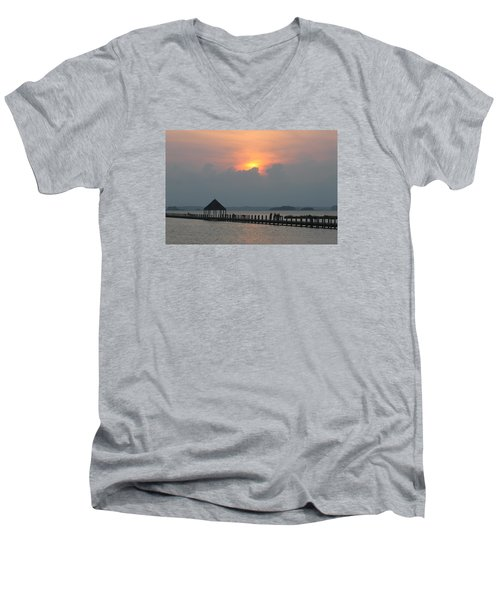 Men's V-Neck T-Shirt featuring the photograph Early Sunset Over The Gazebo by Robert Banach