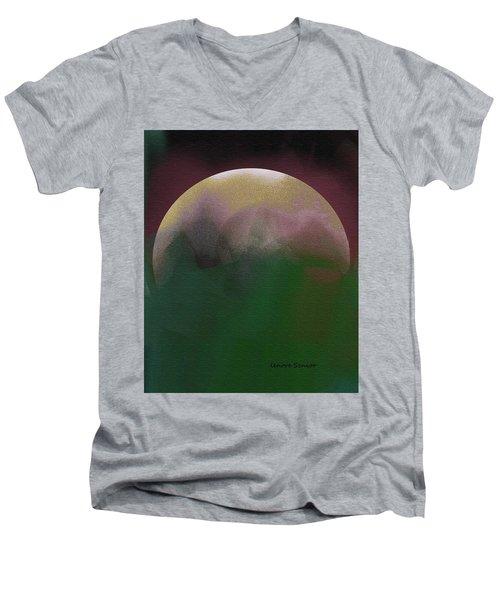 Earth And Moon Men's V-Neck T-Shirt by Lenore Senior