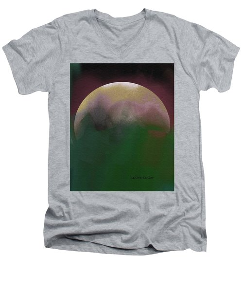 Earth And Moon Men's V-Neck T-Shirt