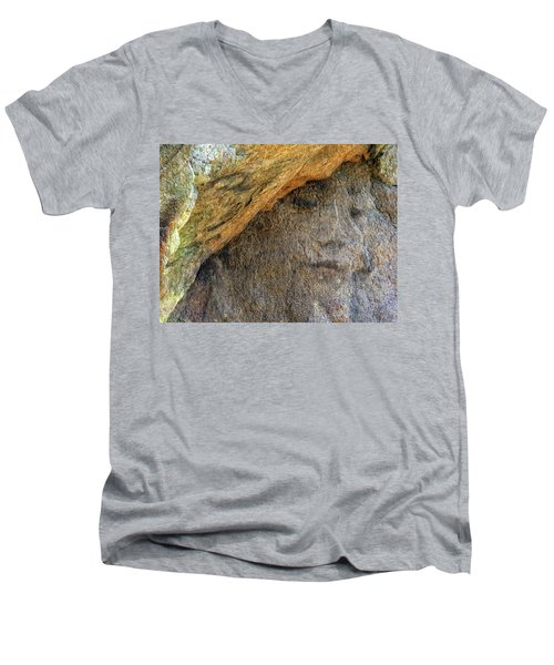 Men's V-Neck T-Shirt featuring the photograph Earth Memories-stone # 4 by Ed Hall