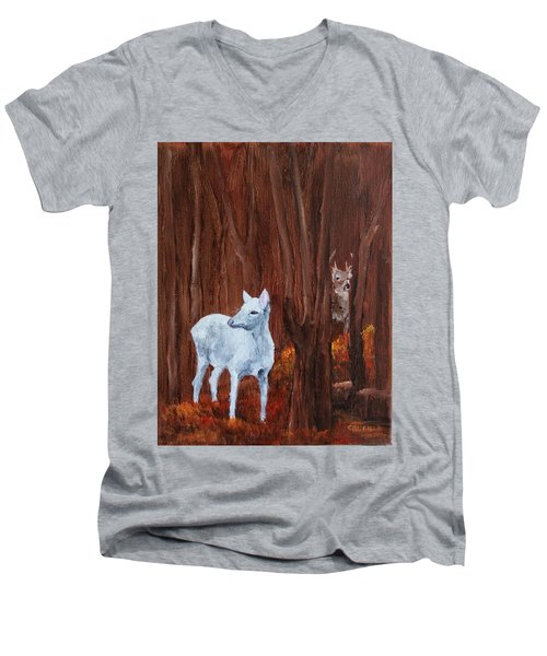 East Aurora Albino Deer,  Men's V-Neck T-Shirt