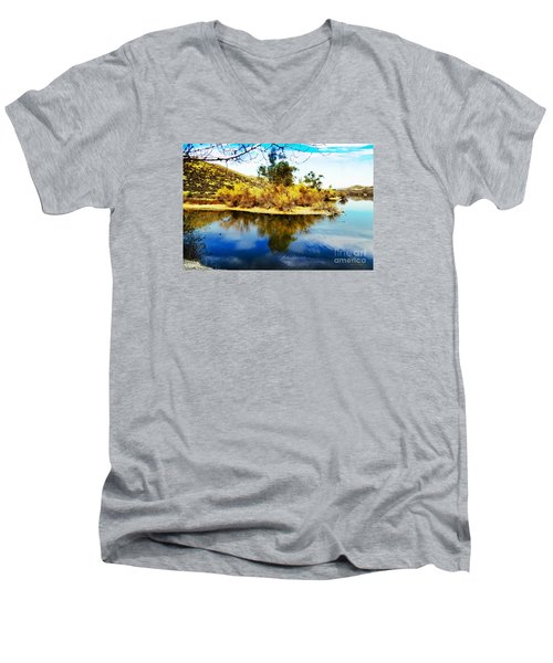 Men's V-Neck T-Shirt featuring the photograph East Bay, Canyon Lake, Ca by Rhonda Strickland