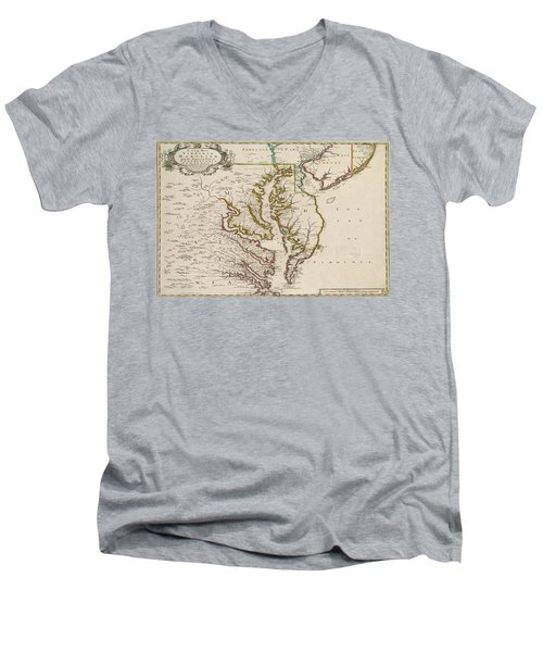 Men's V-Neck T-Shirt featuring the painting East Coast History by Harry Warrick