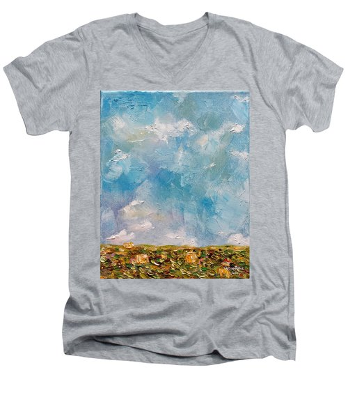 Men's V-Neck T-Shirt featuring the painting East Field Seedlings by Judith Rhue