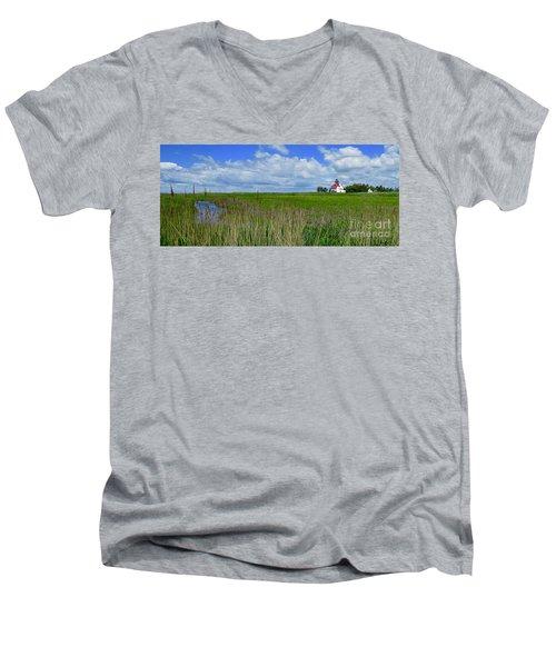 East Point Lighthouse Across The Marsh  Men's V-Neck T-Shirt by Nancy Patterson