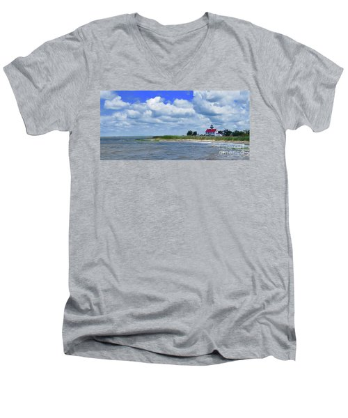 East Point Lighthouse At High Tide Men's V-Neck T-Shirt by Nancy Patterson