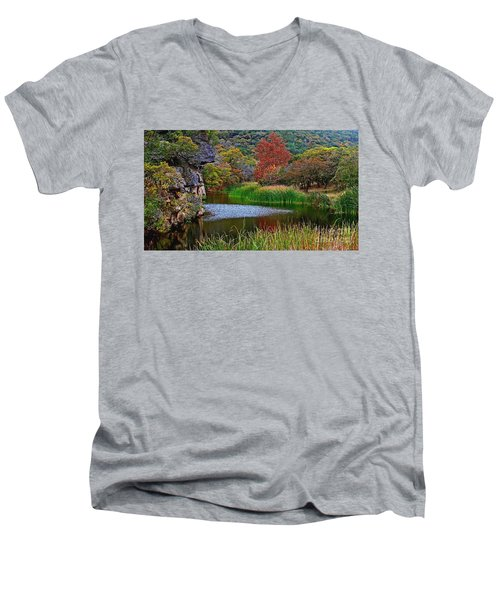 East Trail Pond At Lost Maples Men's V-Neck T-Shirt