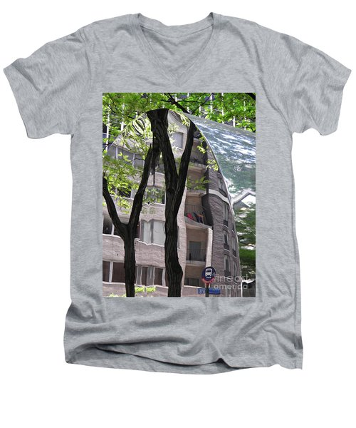 Men's V-Neck T-Shirt featuring the photograph East West Gate 4  by Sarah Loft