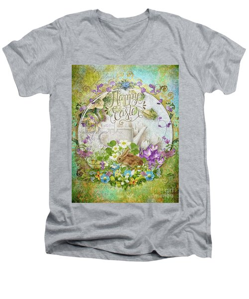 Men's V-Neck T-Shirt featuring the mixed media Easter Breakfast by Mo T