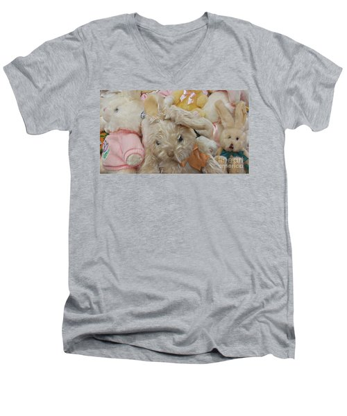 Men's V-Neck T-Shirt featuring the photograph Easter Bunnies by Benanne Stiens