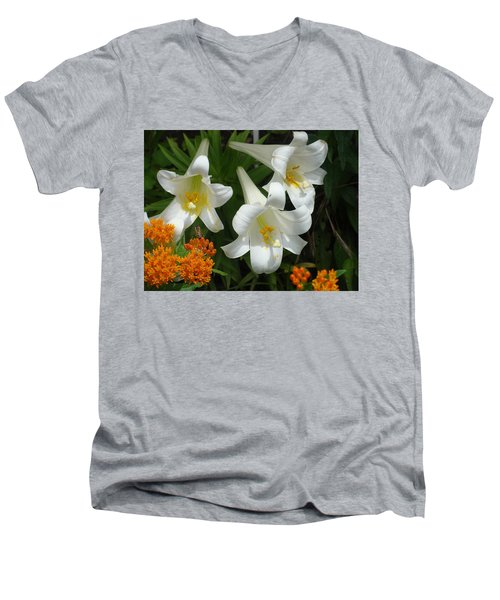 Easter Lilies And Butterfly Weed Men's V-Neck T-Shirt