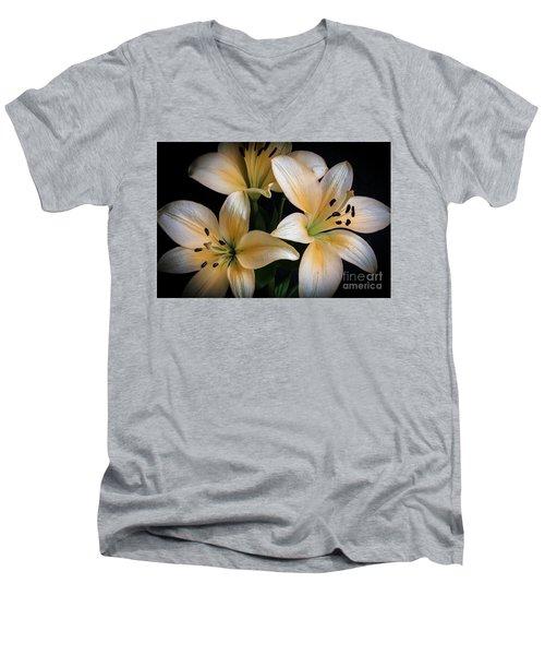 Easter Lilies  Men's V-Neck T-Shirt by Deborah Klubertanz