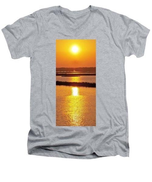 Easter Sunset Southwest Louisiana Men's V-Neck T-Shirt by John Glass