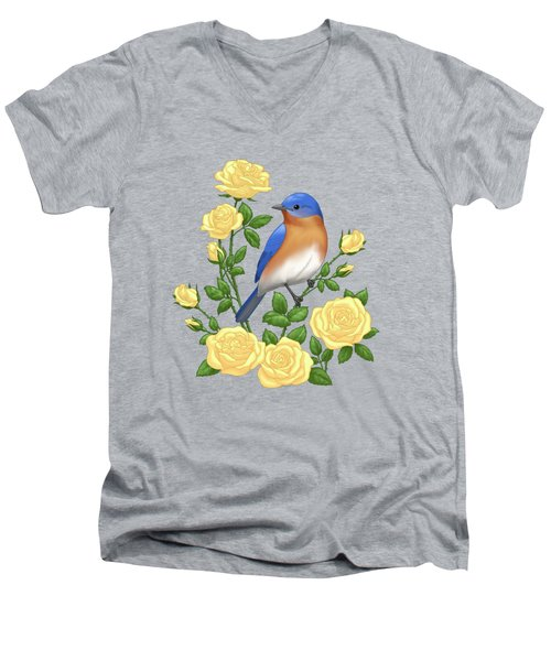Eastern Bluebird And Yellow Roses Men's V-Neck T-Shirt
