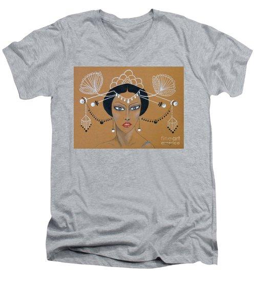 Eastern Elegance -- Whimsical Asian Woman Men's V-Neck T-Shirt