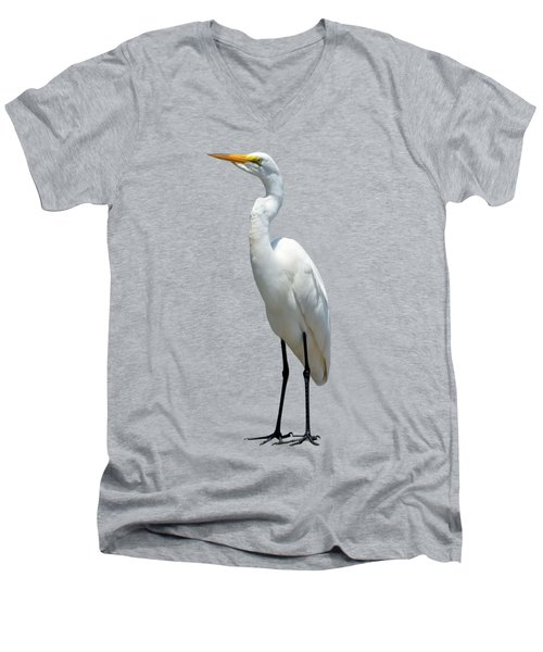 Eastern Great Egret Ardea Alba Modesta Men's V-Neck T-Shirt