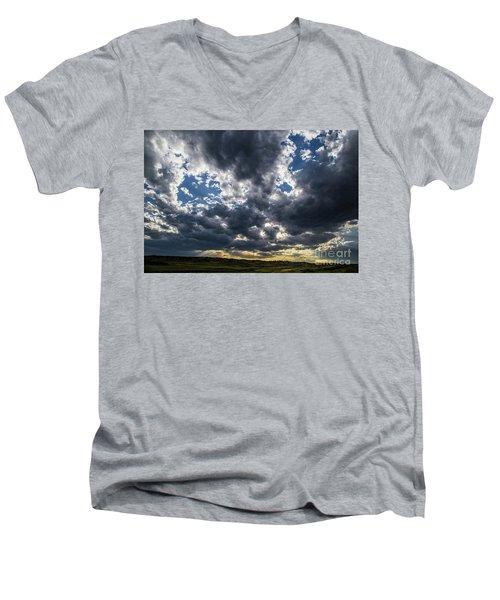 Eastern Montana Sky Men's V-Neck T-Shirt by Shevin Childers