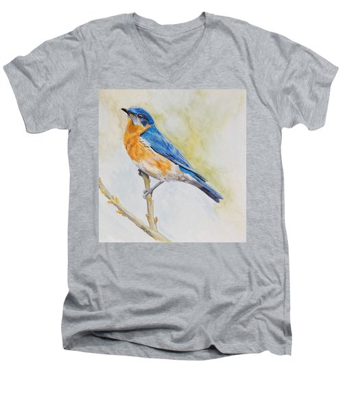 Eastern Mountain Bluebird Men's V-Neck T-Shirt