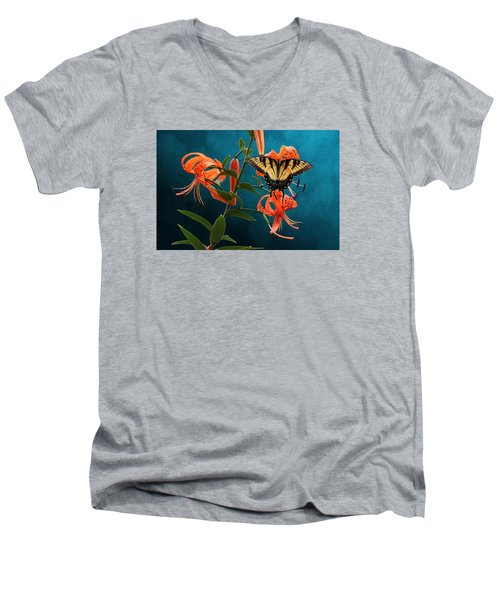 Eastern Tiger Swallowtail Butterfly On Orange Tiger Lily Men's V-Neck T-Shirt