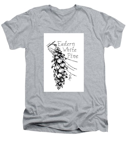Eastern White Pine Cone On A Branch Men's V-Neck T-Shirt
